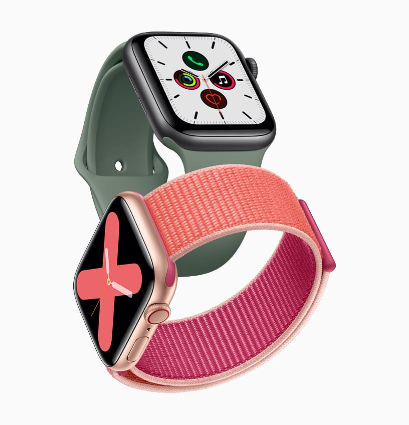 Apple watch series 5 gold aluminum case pomegranate band and space gray aluminum case pine green band 091019 big.jpg.large